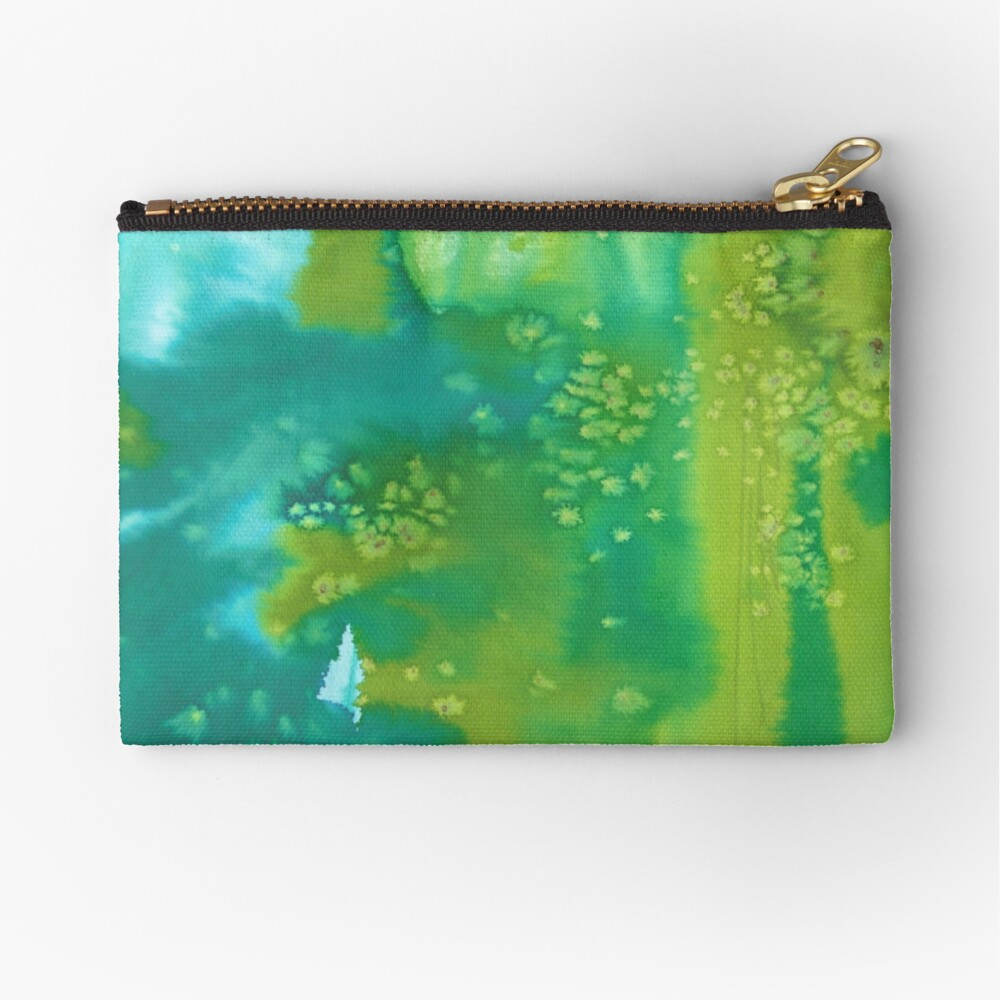 Mermaid dreams blue and green abstract watercolor pattern Zipper Pouch