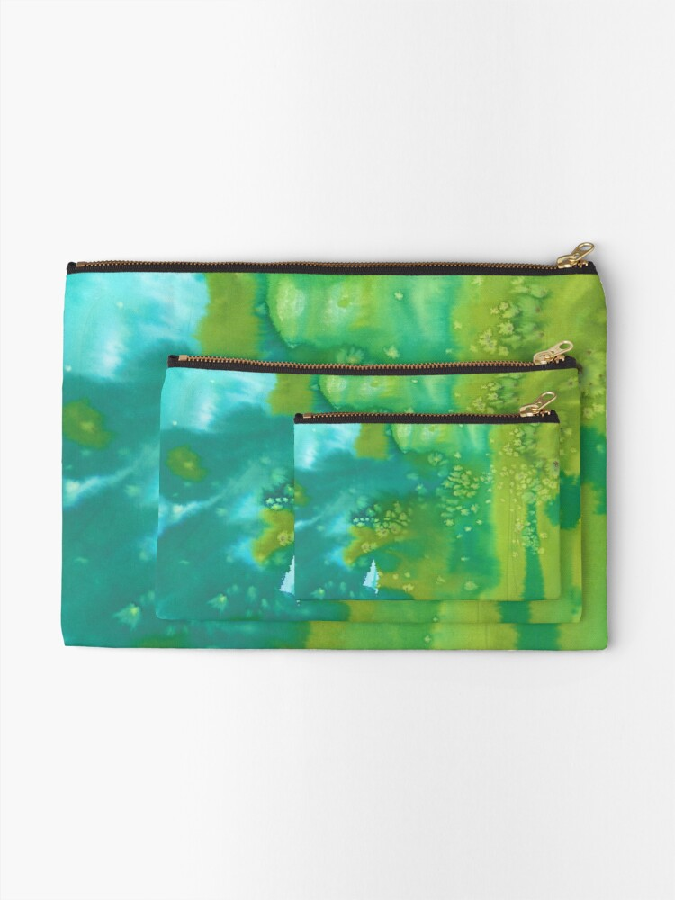 Alternate view of Mermaid dreams blue and green abstract watercolor pattern Zipper Pouch
