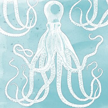Antique Octopus on Watercolor Background by Pixelchicken