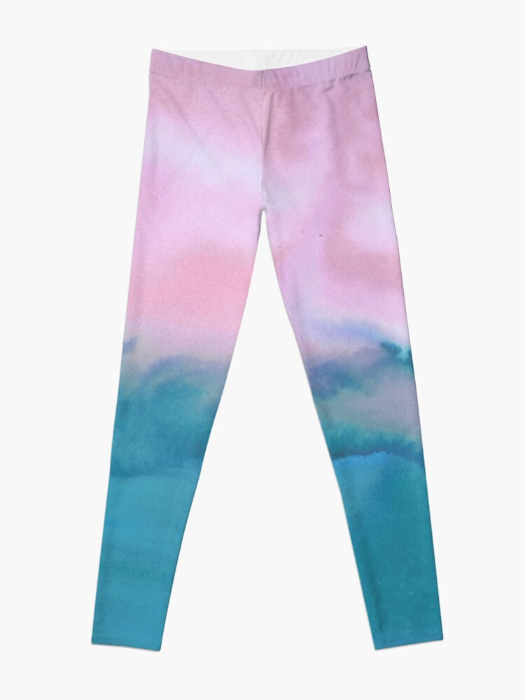 Alternate view of Pink and blue just for you - abstract watercolor art  Leggings