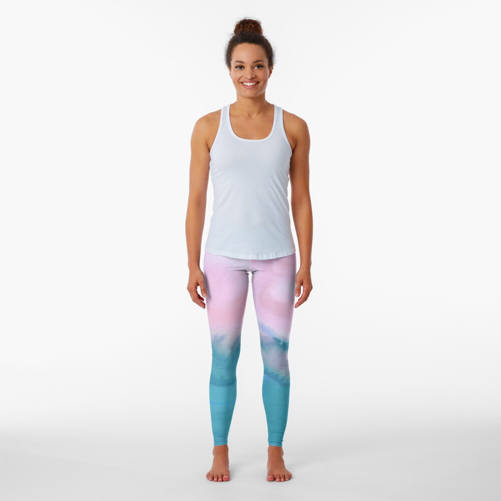 Pink and blue just for you - abstract watercolor art  Leggings