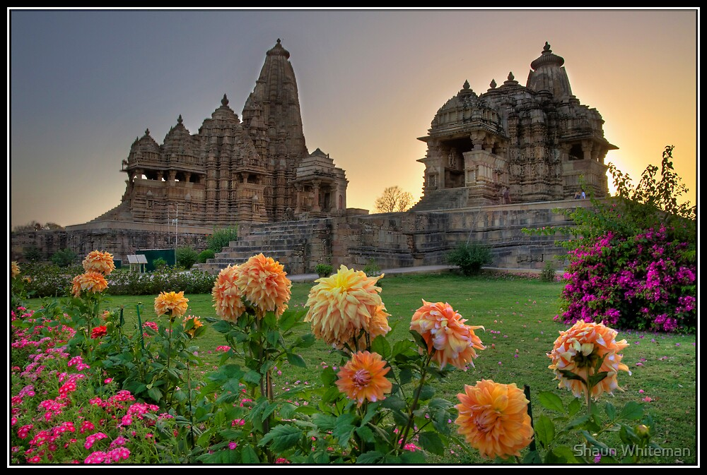 Khajuraho temples at sunset by Shaun Whiteman