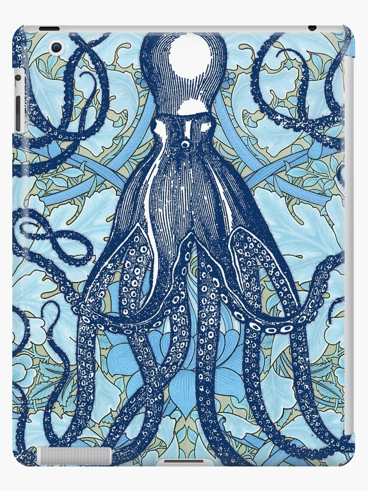 Antique Octopus With William Morris Wallpaper By Pixelchicken