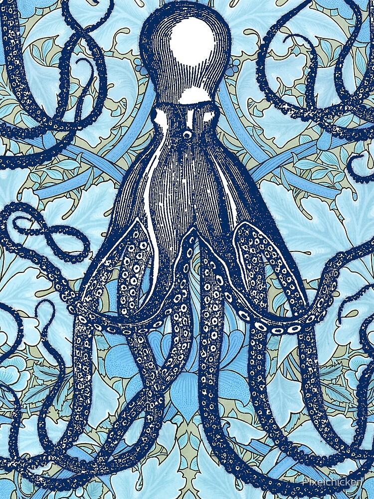 Antique Octopus with William Morris Wallpaper by Pixelchicken