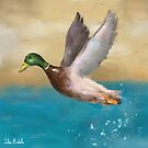 A Painting of a Duck Flying Above the Water by ibadishi
