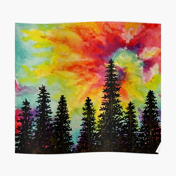 tie dye forest painting Poster