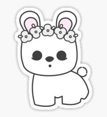 Cute Blanc de Hotot Bunny with Flower Crown: Grey Outline Sticker