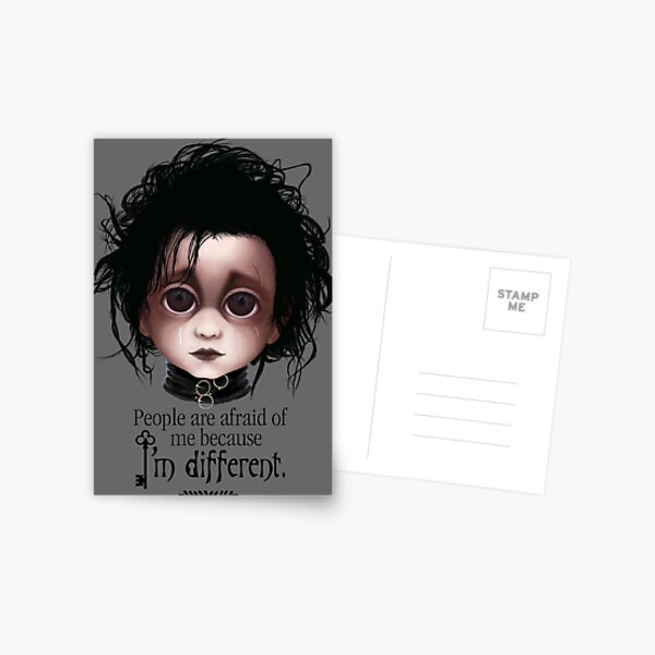 """Edward Scissorhands """"People are afraid of me because I'm different."""" BITTY BADDIES Postcard"""