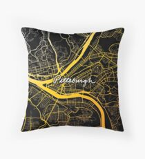Pittsburgh Map Black and Yellow Throw Pillow