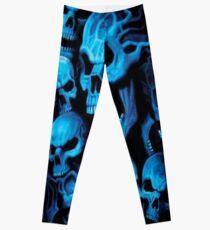 Blue Neon Skulls Souls Leggings