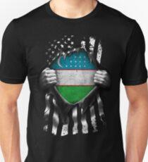 Uzbek American Flag USA Uzbekistan Uzbekistani Unisex T-Shirt