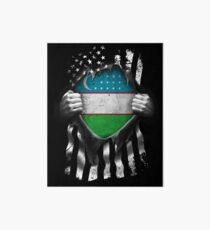Uzbek American Flag USA Uzbekistan Uzbekistani Art Board