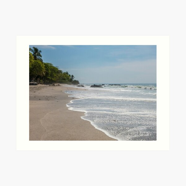 Montezuma, Ecuador sand beach with waves rolling in Art Print