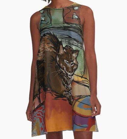 The Leisurely Cat A-Line Dress