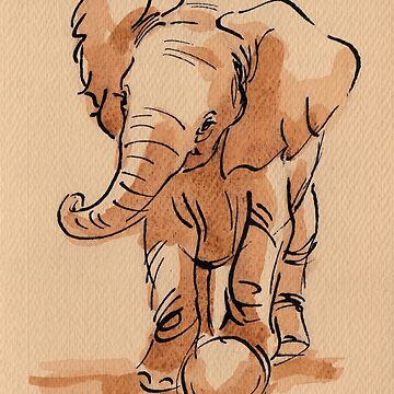 Let's Play: Baby Elephant Watercolor Painting #11 by tranquilwaters