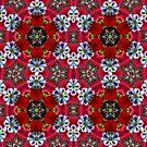 Red Flower Mandala by DesJardins