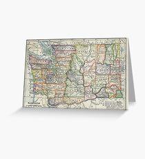 Vintage Map of Washington State (1914) Greeting Card