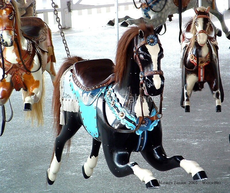 Watch hill carousel black horse front view art prints by watch hill carousel black horse front view by maureen zaharie sciox Choice Image