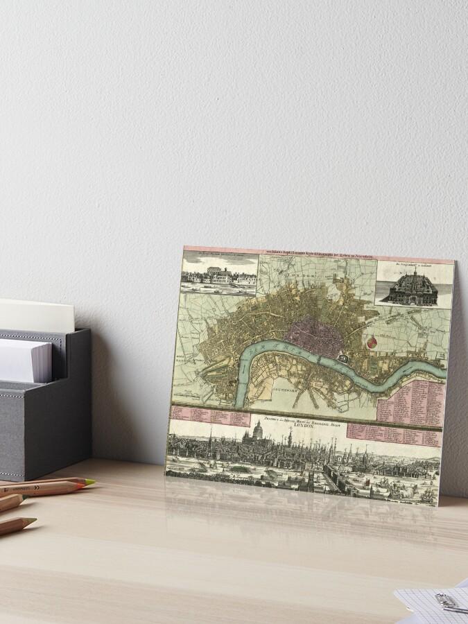 Vintage Map Of London England 1740 Art Board Print By Bravuramedia Redbubble