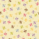 Multi coloured bees on yellow background. by jaggedfin