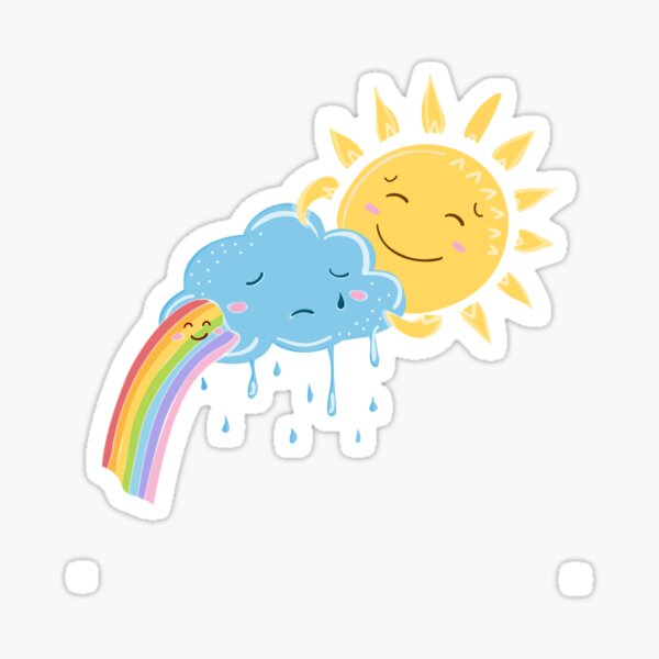 Monochrome Contour Sticker Of Smiling Cloud With Rain And Sun.. Royalty  Free Cliparts, Vectors, And Stock Illustration. Image 72808176.