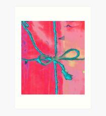 Atractivo azul eléctrico busca lazo rosa fluorescente... Lámina artística