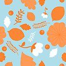 Spring Flower Pattern (blue) by Stephanie Hardy