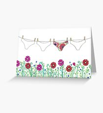 laundry line flowers Greeting Card
