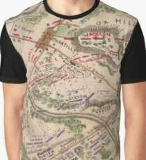 Vintage Map of The Battle of Chantilly (1865) Graphic T-Shirt