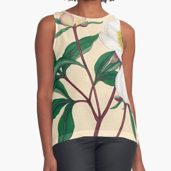 Botanical illustration: Peonies by Henry Charles Andrews – State Library Victoria Sleeveless Top