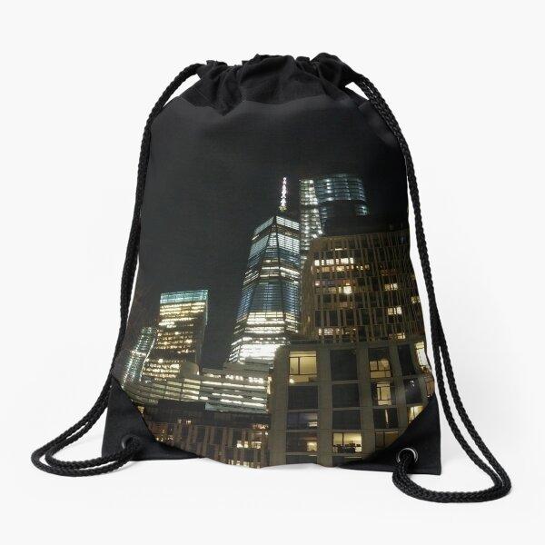 New York City, New York, Brooklyn, Manhattan, building, house, skyscraper, Street View, street, cars Drawstring Bag