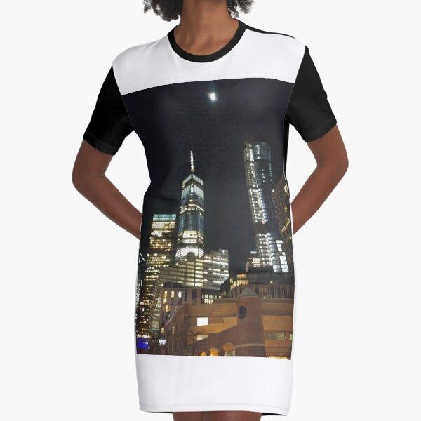 New York City, New York, Brooklyn, Manhattan, building, house, skyscraper, Street View, street, cars Graphic T-Shirt Dress