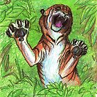Tiger Cat Jungle Wild Animal Panther Lion Striped Feline by Stephanie Small