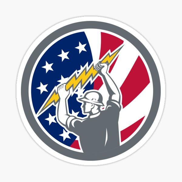 American Electrician USA Flag Icon Sticker