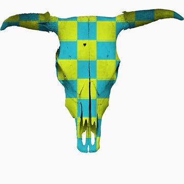 Harlequin Steer Skull by finnos