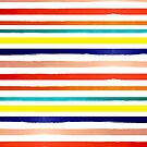 Bright Watercolor Rainbow Stripes by melaniebiehle