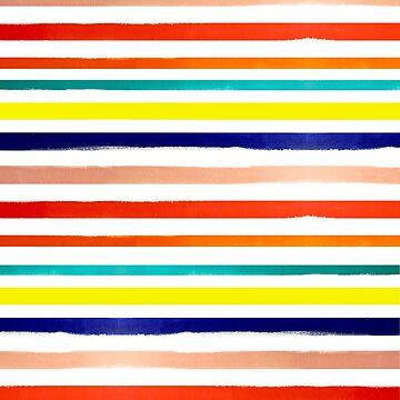 Bright Watercolor Rainbow Stripes by melaniebiehle