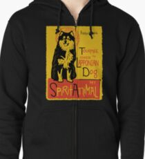 Funny Finnish Lapphund Cute Dog Chat Noir Mashup Art Design Zipped Hoodie