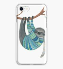 Smiley sloth wearing sweater iPhone Case/Skin