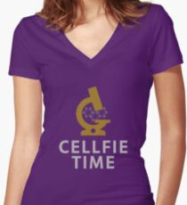 """Cellfie Time"""" - funny laboratory week gift lab tech Women's Fitted V-Neck T-Shirt"""