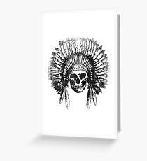 Vintage Chief Skull Design Greeting Card
