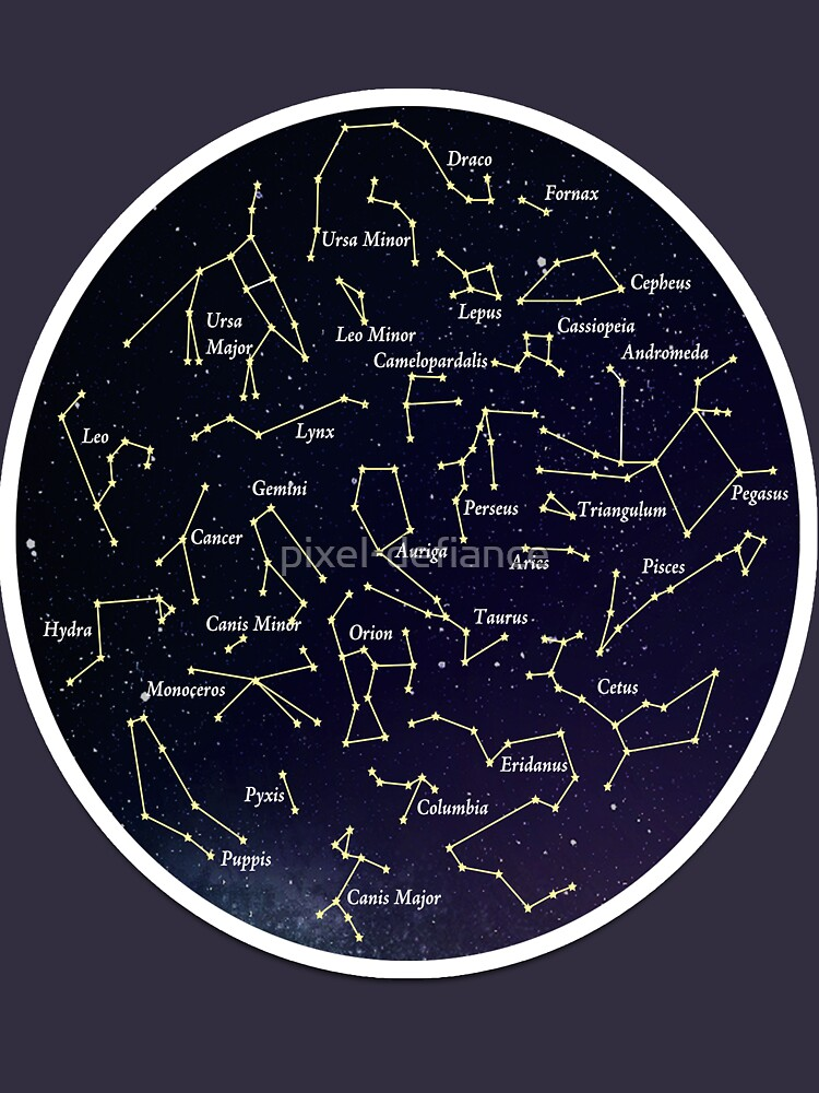 Constellation Map Space Galaxy Astrological Star Chart Tee Shirt