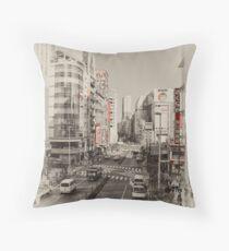 Shinjuku Streetscape Throw Pillow