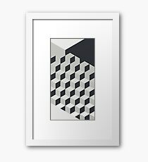 Gradient Cubes – Ebony Black / Warm Gray Framed Print