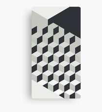 Gradient Cubes – Ebony Black / Warm Gray Canvas Print