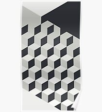 Gradient Cubes – Ebony Black / Warm Gray Poster