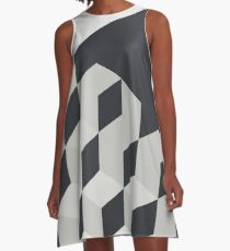 Gradient Cubes – Ebony Black / Warm Gray A-Line Dress