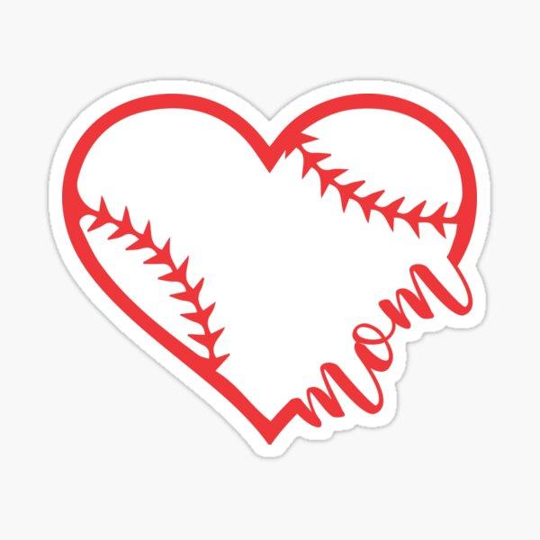 Baseball Mom Heart  Sticker