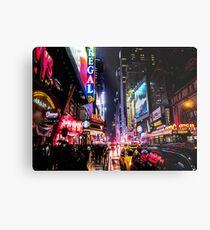 Lámina metálica Noche de la ciudad de Nueva York