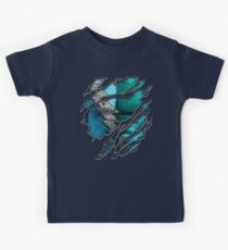 Quick man Silver lightning chest in blue ripped torn tee Kids Tee